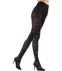 memoi women's wild floral opaque tights - black - size s (4-6)/m (8-10)