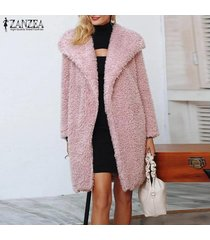 zanzea mujeres spring open front tunic cardigan jumper jerséis de punto fleece coat -rosado