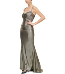 eliza j draped-neck ruched gown