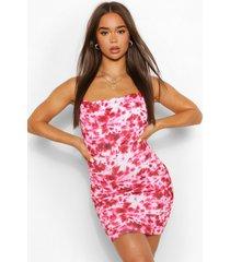 tie dye mini jurk met col, rood