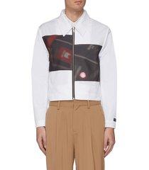 paneled zip crop jacket