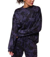 onzie women's boyfriend sweatshirt - amethyst tie dye spandex
