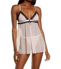 black bow pamela babydoll chemise & thong set, size x-large in veiled rose at nordstrom