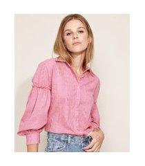 camisa de laise feminina mindset manga bufante com franzido rosa escuro