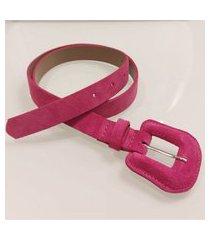 cinto camurça fivela revestida redonda stock pink