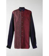 comme des garçons homme plus leopard print panelled long-line shirt