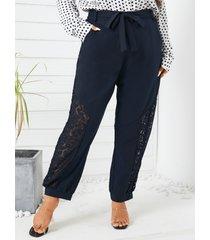 yoins plus talla cinturón diseño bolsillos laterales encaje patchwork pantalones