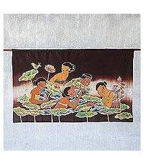 batik wall hanging, 'lotus pool' (thailand)