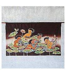 cotton batik wall hanging, 'lotus pool' (thailand)