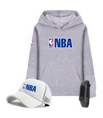 moletom canguru cinza e boné branco liga de basquete nba com relógio