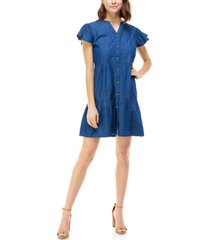 rosie harlow juniors' cotton chambray a-line dress