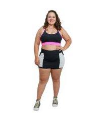 shorts saia fitness corpusfit life com bolso plus size - preto e branco