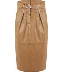 alberta ferretti brown sheepskin skirt