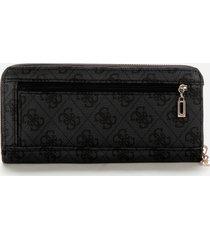 guess women's vikky large zip around wallet - coal logo