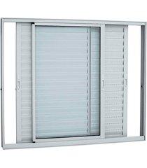 janela veneziana de correr aluminio sem grade branca - 3 folhas móveis - 100x120x8,7cm - sasazaki - sasazaki