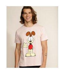 camiseta masculina odiei garfield manga curta gola careca rosa claro
