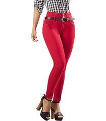 jeans colombiano con control de abdomen rojo bartolomeo