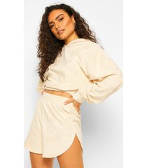 mix & match fleece lounge top met rits, stone