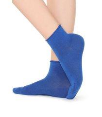 calzedonia extra short flat-knit bandless cotton socks woman blue size tu