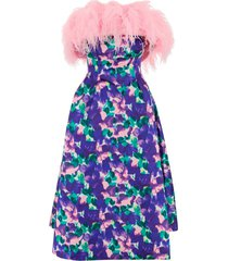feather dress with concealed back closure
