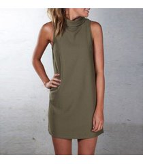 green women summer sexy party dress elegant sleeveless turtleneck mini dress new