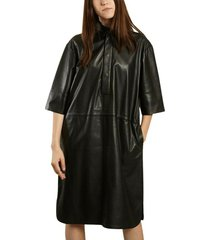 indie leather midi dress