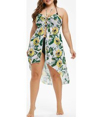 sunflower leaves print o ring halter plus size cover up