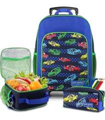 conjunto mochila com rodinhas g, lancheira térmica, estojo menino sapeka carro jacki design azul