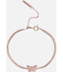 olivia burton women's bejewelled 3d butterfly chain bracelet - rose gold & blue crystal