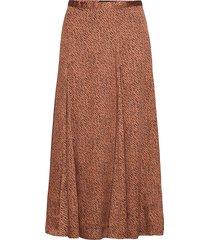 satin godet midi skirt knälång kjol brun banana republic