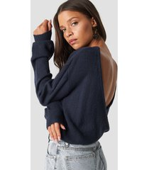 na-kd trend back overlap knitted sweater - blue