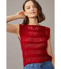 regata amaro tricot franjas vermelho - vermelho - feminino - dafiti