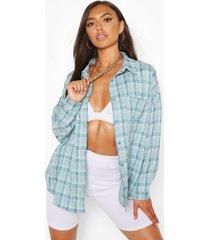 petite oversized flannel shirt, blue