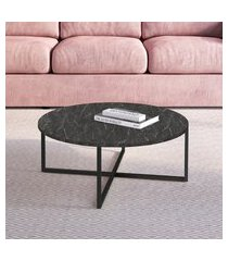 mesa de centro redonda artesano 70cm estrutura aço carbono fosco
