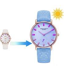 trendy sun ultraviolet rays cambia colore orologio da polso da uomo in acciaio al quarzo regalo per donna