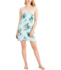 inc international concepts lace-back printed knit chemise nightgown, created for macy's