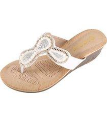 accesorios de perlas sandalias antideslizantes para mujer-blanco