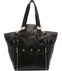 yves saint laurent pre-owned decorative buckle studded tote bag -