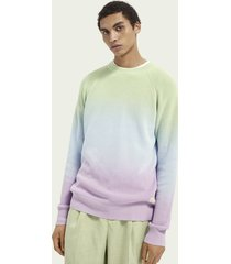 scotch & soda dip-dye ribgebreide katoenen sweater