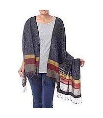 wool blend shawl, 'himalaya night' (india)