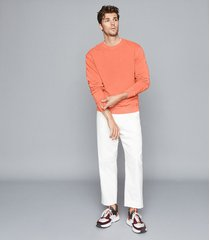 reiss tyne - garment dyed sweatshirt in coral, mens, size xxl