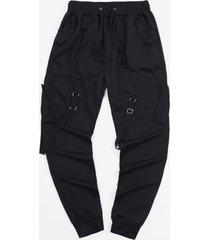 ribbon pockets long drawstring sport cargo pants