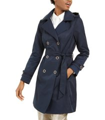 anne klein petite double-breasted hooded water resistant trench coat