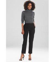 natori stretch cotton twill ankle pants, women's, silk, size 6