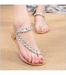 zapatos sandalias flats t-strap verano plana dedo -oro