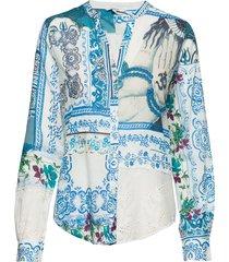 cam sorrento blouse lange mouwen blauw desigual