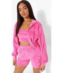 korte velours hoodie met rits, pink