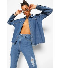 oversized shirt met denim zoom detail, dark blue
