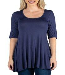 women's elbow sleeve swing tunic top