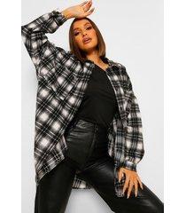 geruite oversized blouse, black
